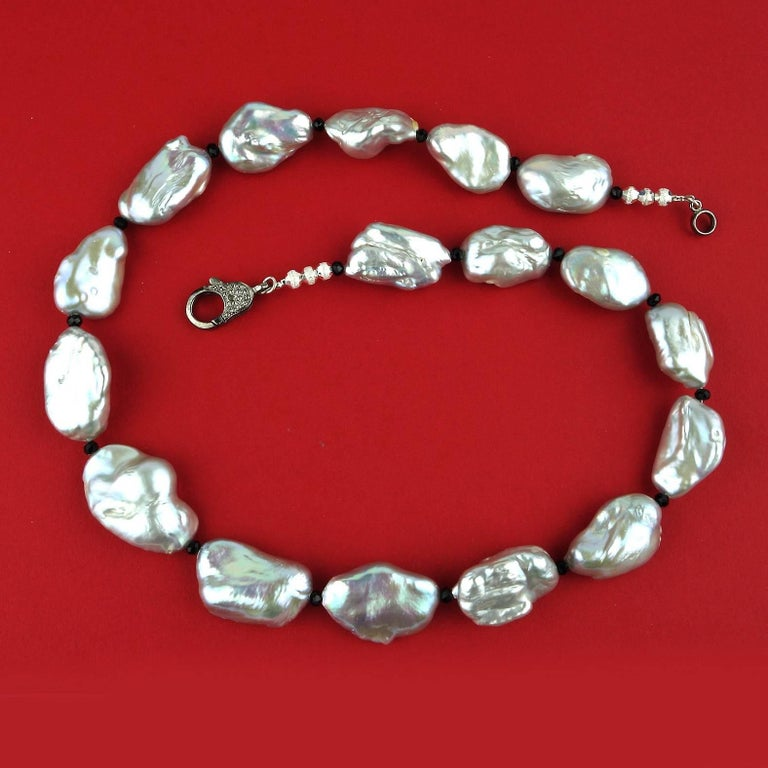 Iridescent Silvery Baroque Pearl Necklace For Sale 1