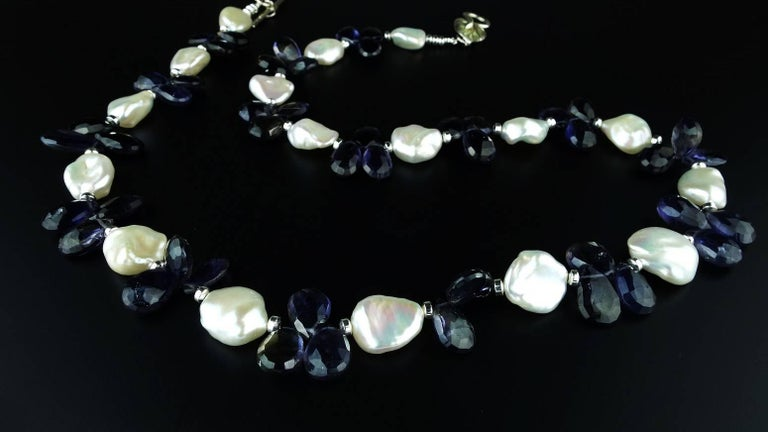 Women's Keshi Pearl and Blue Iolite Briolette Necklace For Sale