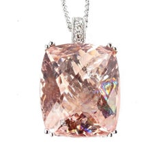 Extraordinary 15 Carat Morganite White Gold and Diamond Pendant