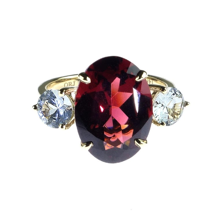 Rhodolite Garnet and White Sapphire Cocktail Ring