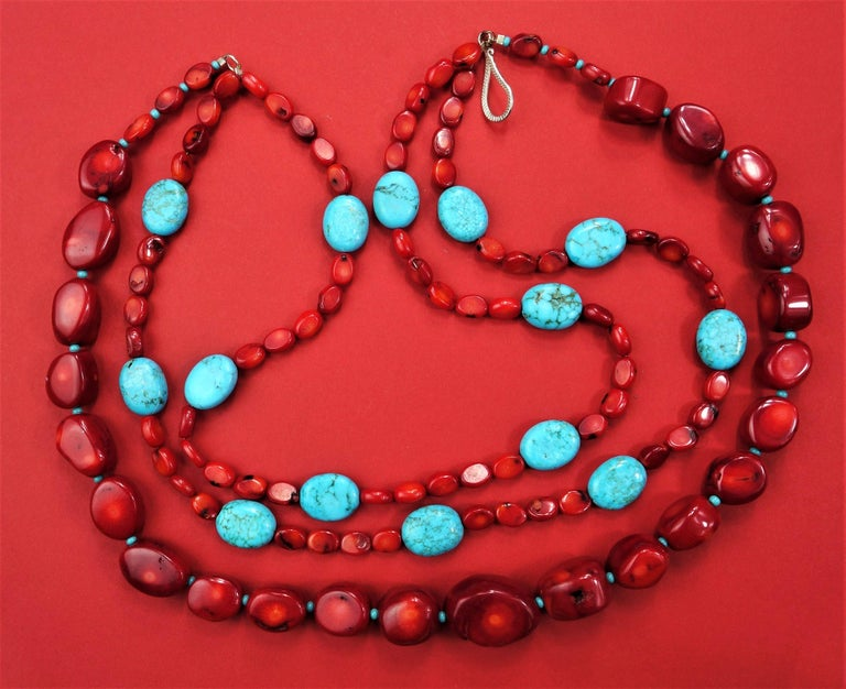 Statement Coral and Turquoise Triple Strand Necklace For Sale 3