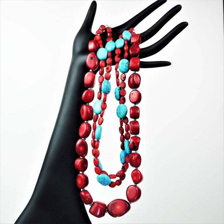 Statement Coral and Turquoise Triple Strand Necklace For Sale 1