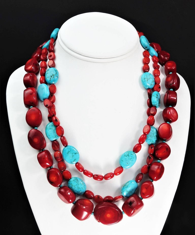 Women's or Men's Statement Coral and Turquoise Triple Strand Necklace For Sale
