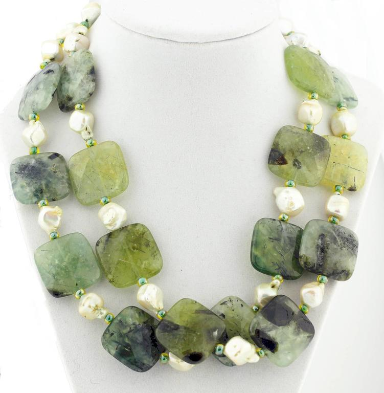 Natural Pearls and Prehnite Necklace 2