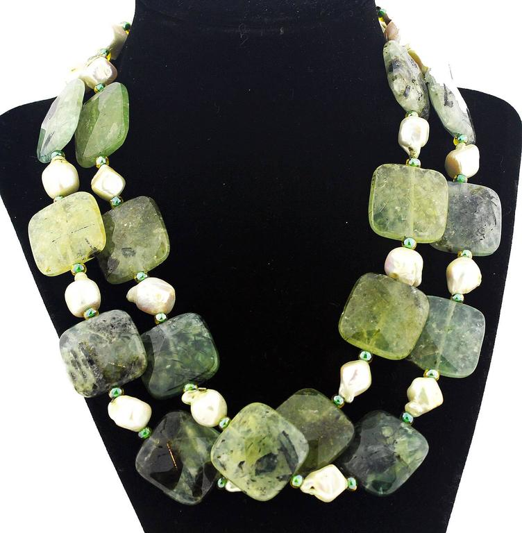 Natural Pearls and Prehnite Necklace 3
