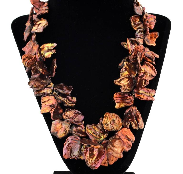 Coppery Red/Goldy Radiant Keshi Pearl Necklace In New Condition For Sale In TUXEDO PARK, NY