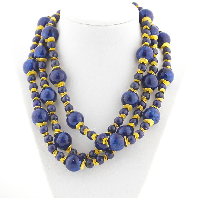 Contemporary Lapis Lazuli Blue Coral Necklace For Sale