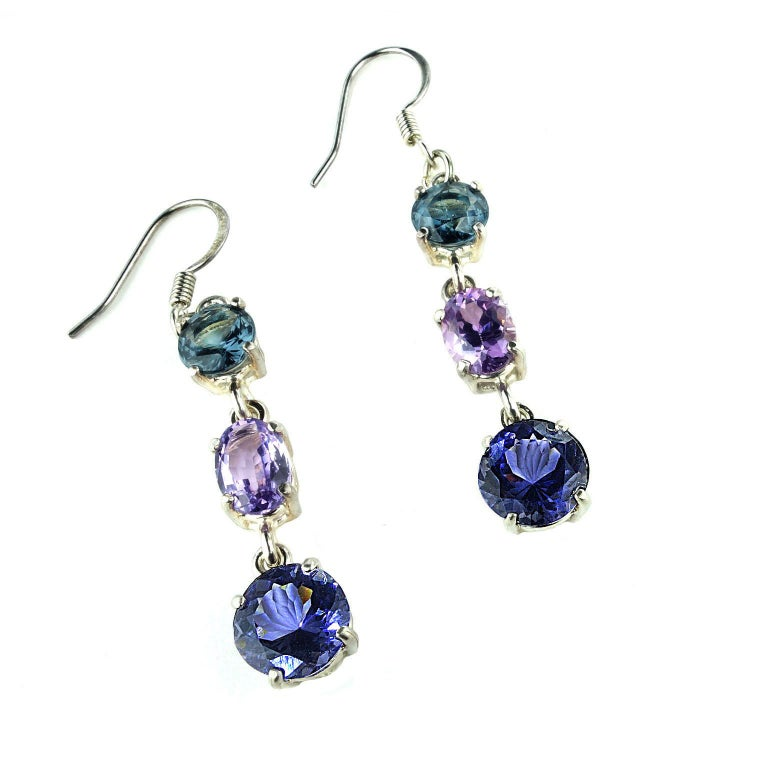 Dangling Sparkling Three Stone Spinel Earrings For