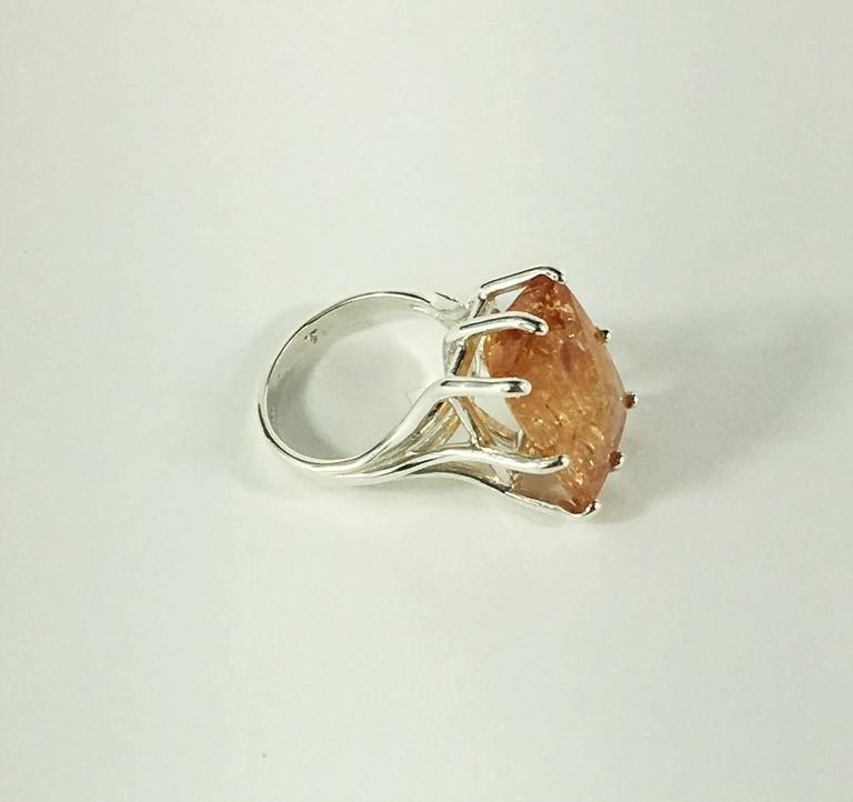 Women's or Men's Peach-Orange Rectangular Imperial Topaz in Sterling Silver Ring For Sale
