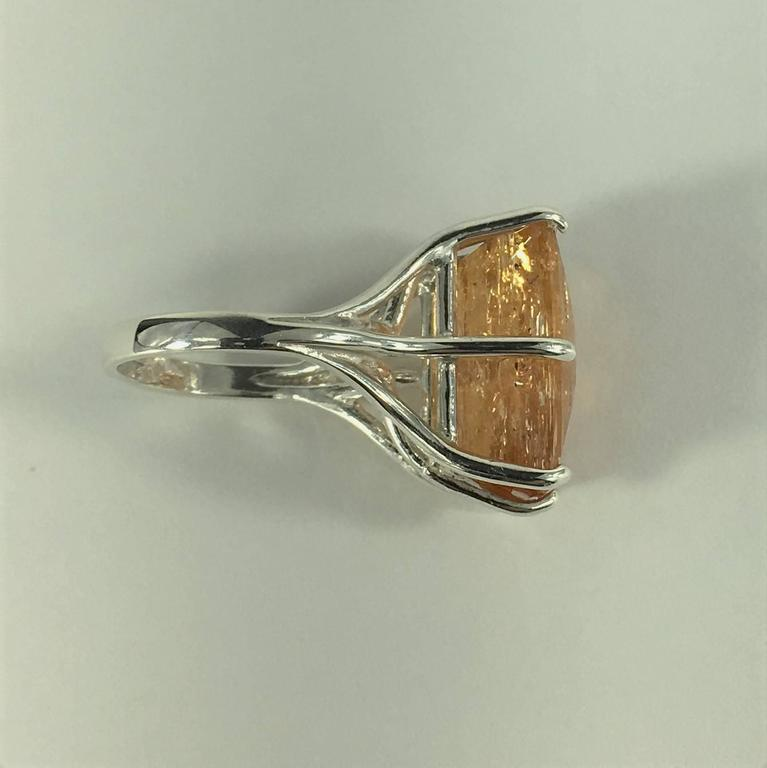 Peach-Orange Rectangular Imperial Topaz in Sterling Silver Ring 6