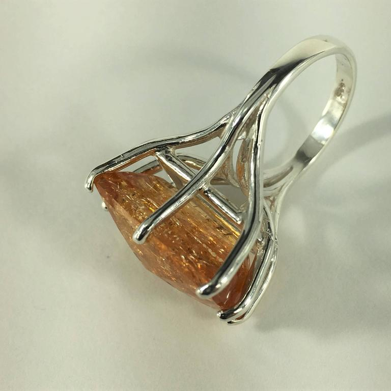 Peach-Orange Rectangular Imperial Topaz in Sterling Silver Ring 7