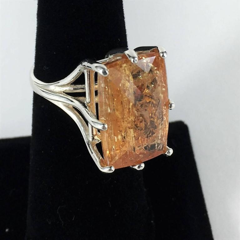 Peach-Orange Rectangular Imperial Topaz in Sterling Silver Ring For Sale 4