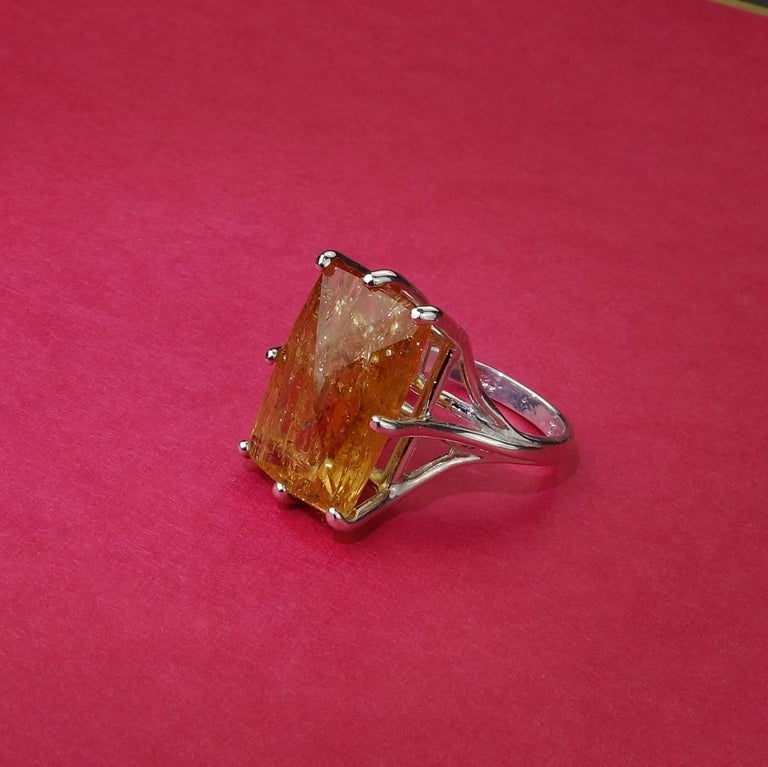 Peach-Orange Rectangular Imperial Topaz in Sterling Silver Ring For Sale 5