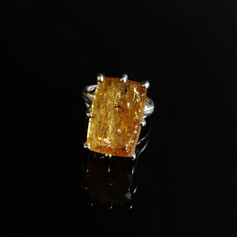 Peach-Orange Rectangular Imperial Topaz in Sterling Silver Ring 2