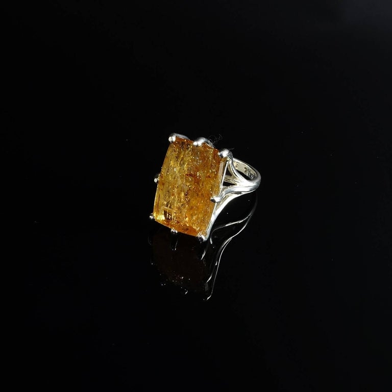 Peach-Orange Rectangular Imperial Topaz in Sterling Silver Ring In Excellent Condition For Sale In TUXEDO PARK, NY