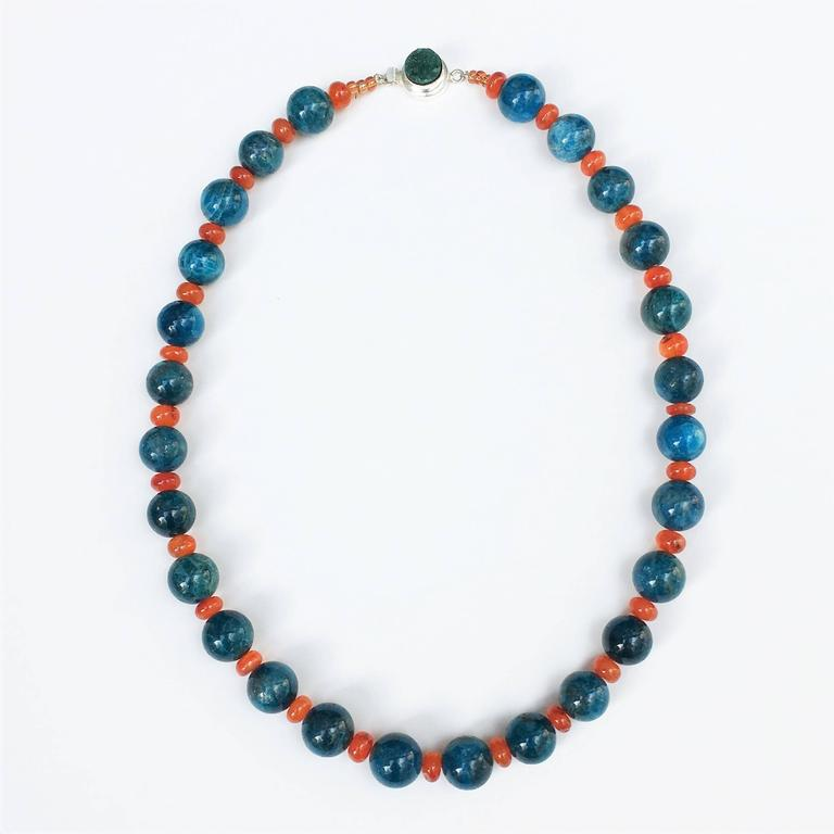 Gemjunky Glowing Apatite and Carnelian Necklace In New Condition For Sale In Tuxedo Park , NY