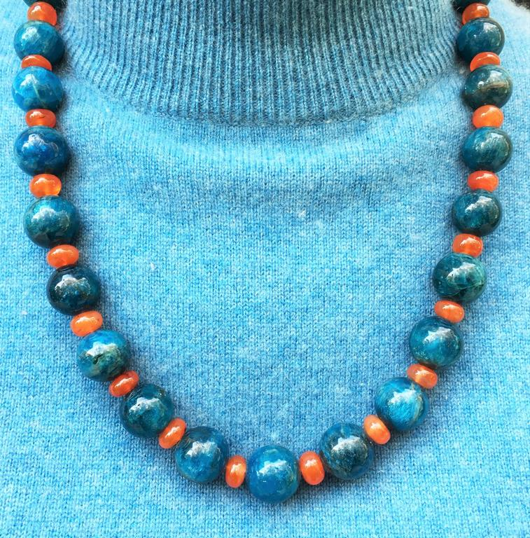 Women's or Men's Gemjunky Glowing Apatite and Carnelian Necklace For Sale