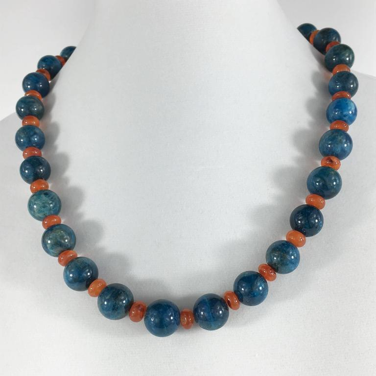 Gemjunky Glowing Apatite and Carnelian Necklace For Sale 1