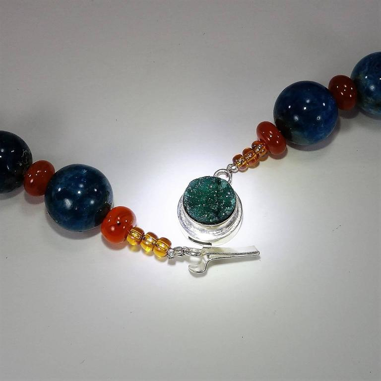 Gemjunky Glowing Apatite and Carnelian Necklace For Sale 3
