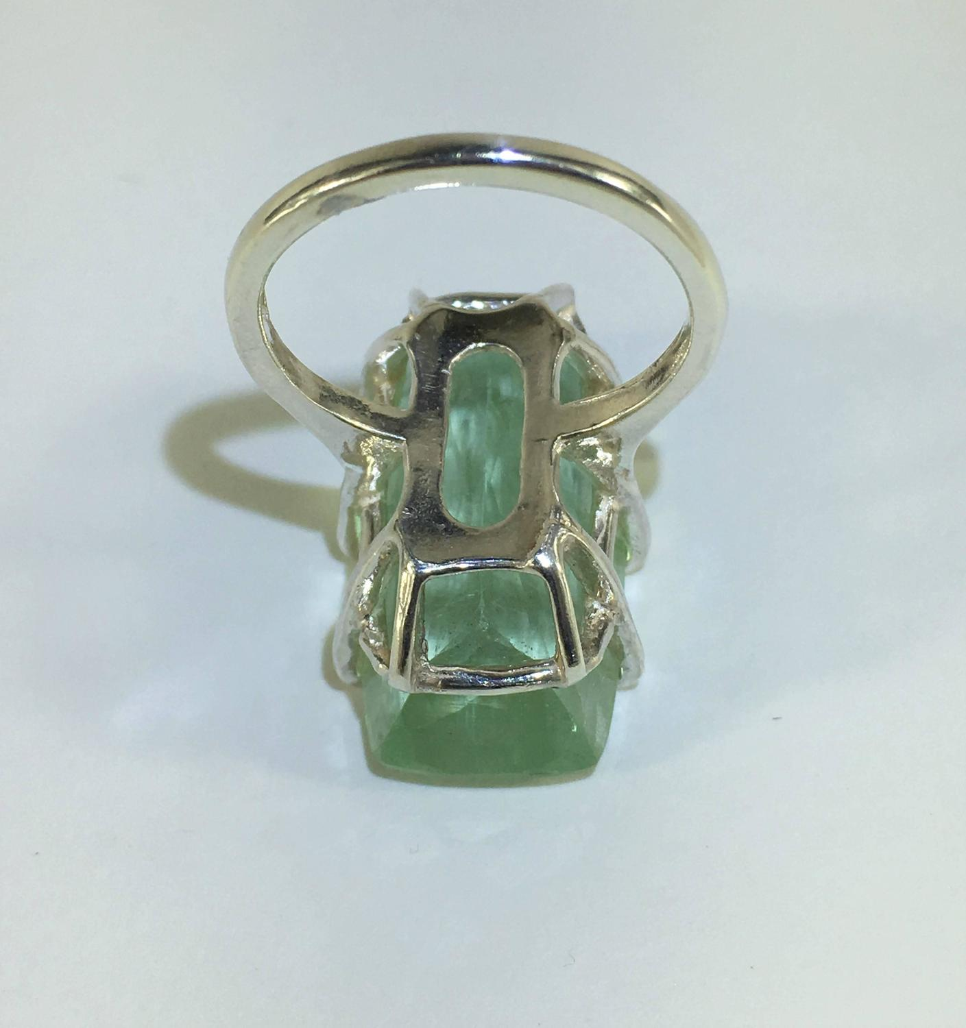 rectangular green beryl sterling silver ring for sale at