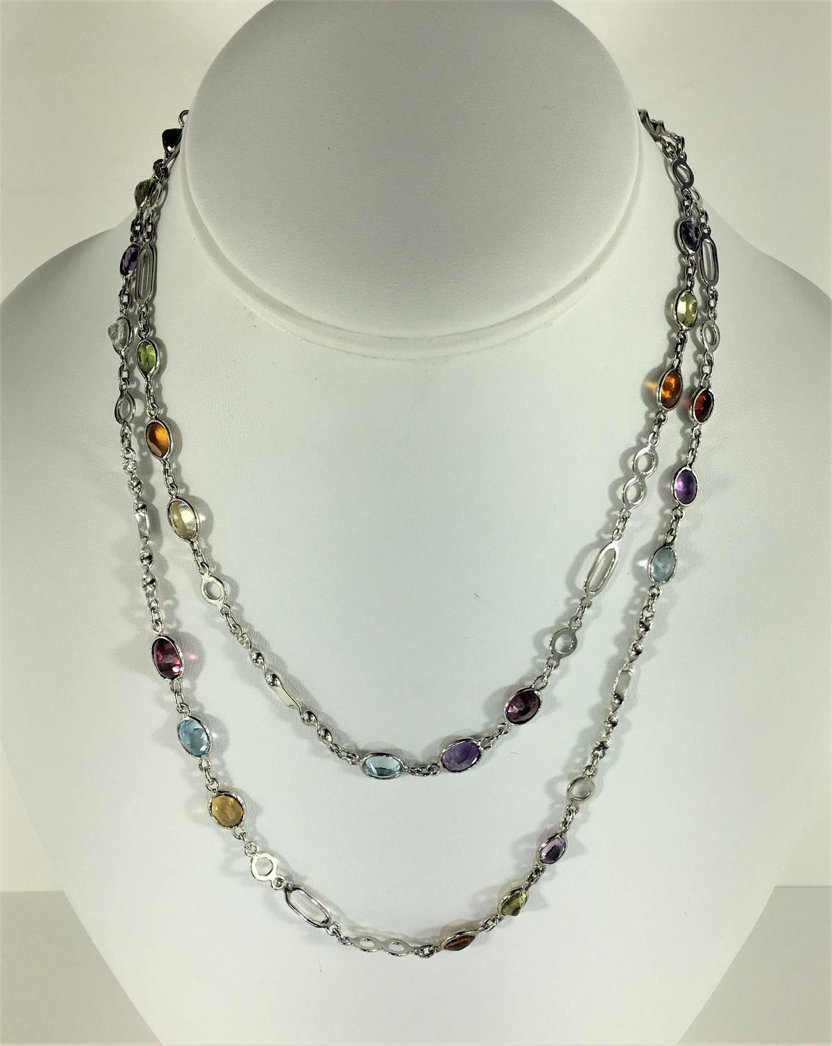 36 inch sterling silver chain with oval gemstones necklace for sale at