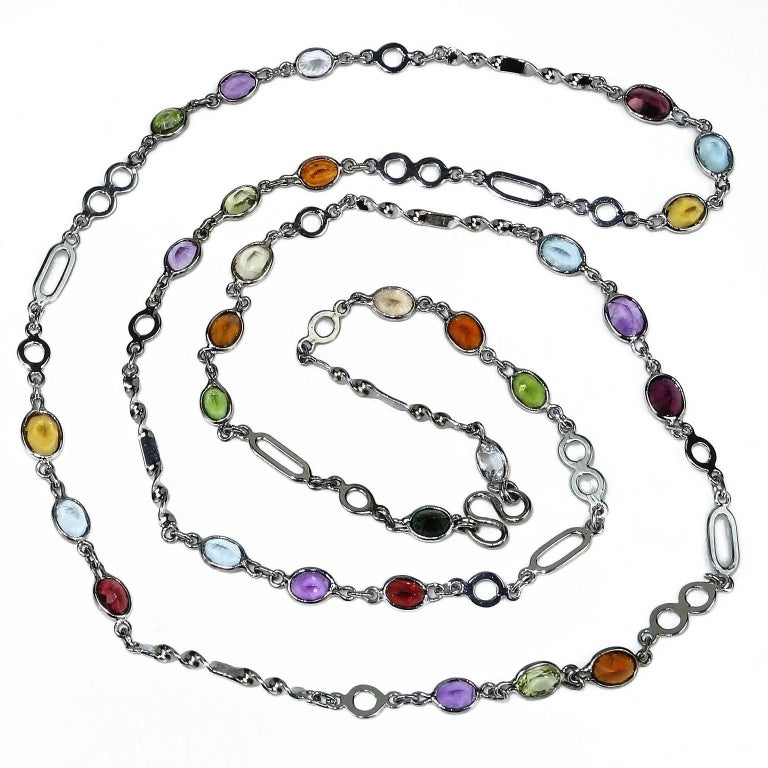 36 Inch Sterling Silver Chain with Oval Gemstones Necklace 2