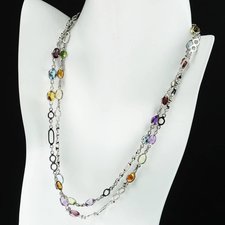 36 Inch Sterling Silver Chain with Oval Gemstones Necklace In Excellent Condition For Sale In TUXEDO PARK, NY