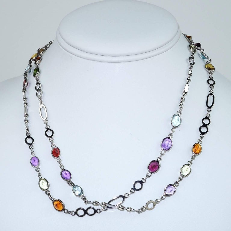 36 Inch Sterling Silver Chain with Oval Gemstones Necklace For Sale 1