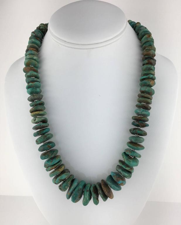 Women's or Men's Graduated Natural Turquoise Rondel Necklace For Sale