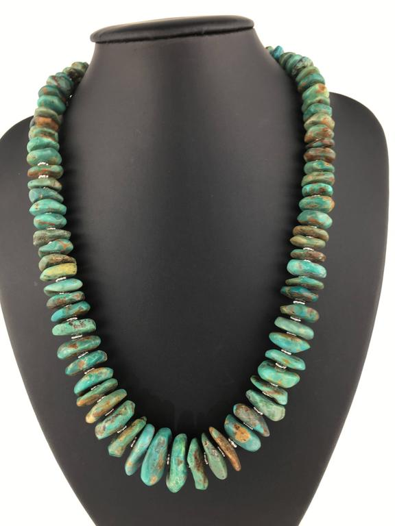 Graduated Natural Turquoise Rondel Necklace For Sale 1