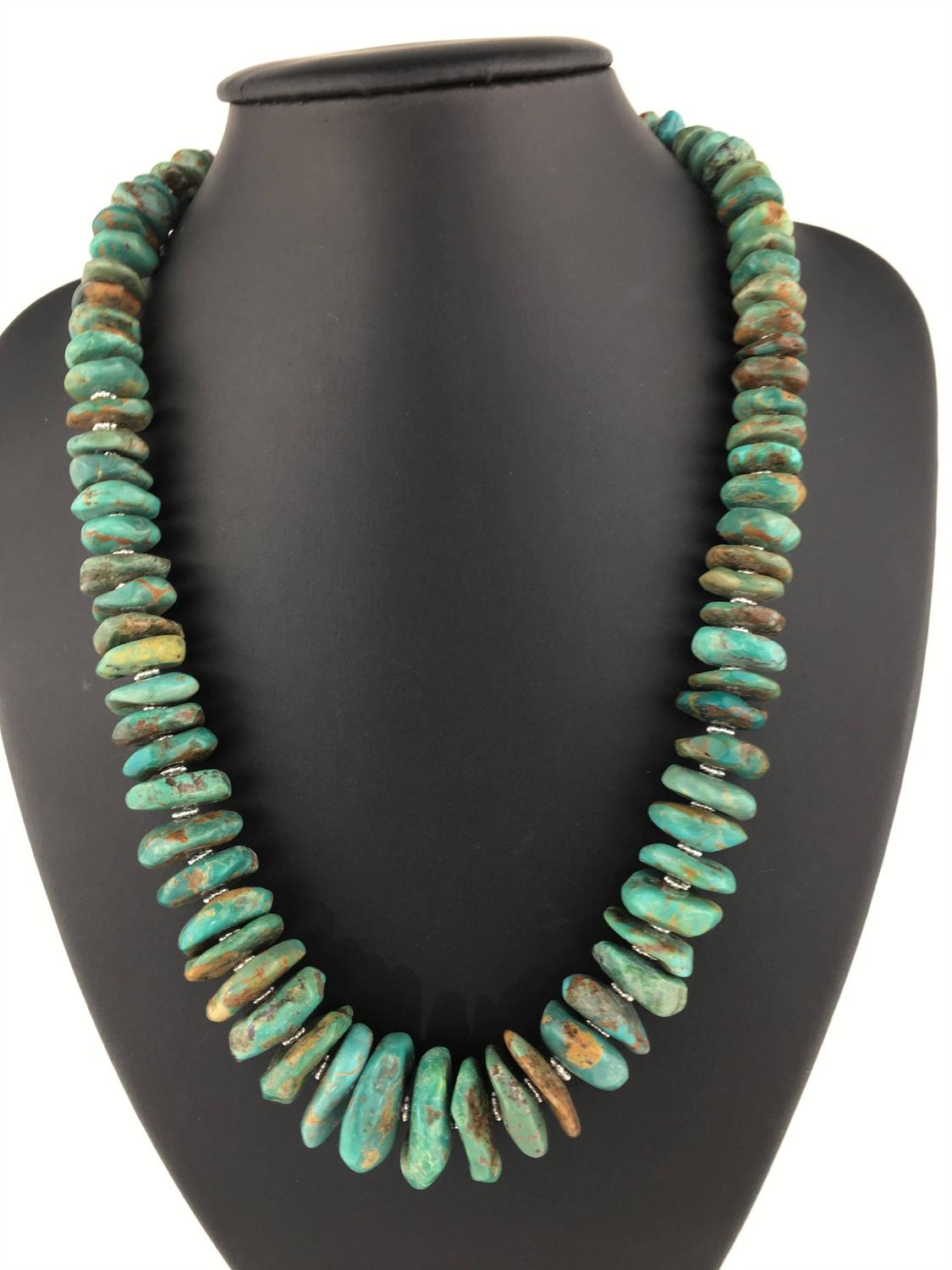 Graduated Natural Turquoise Rondel Necklace For Sale At