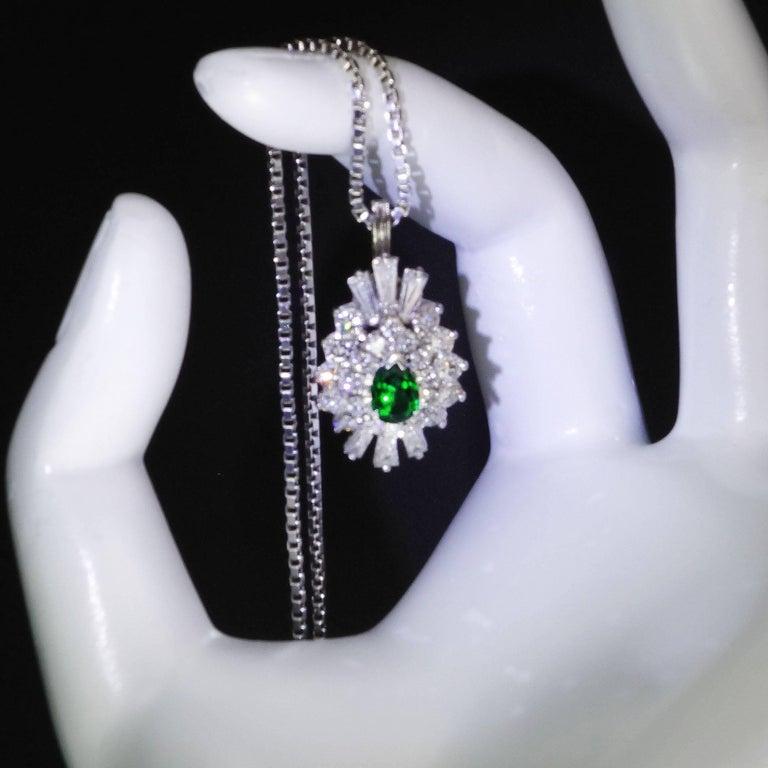 Tsavorite and Diamond Platinum Pendant 10