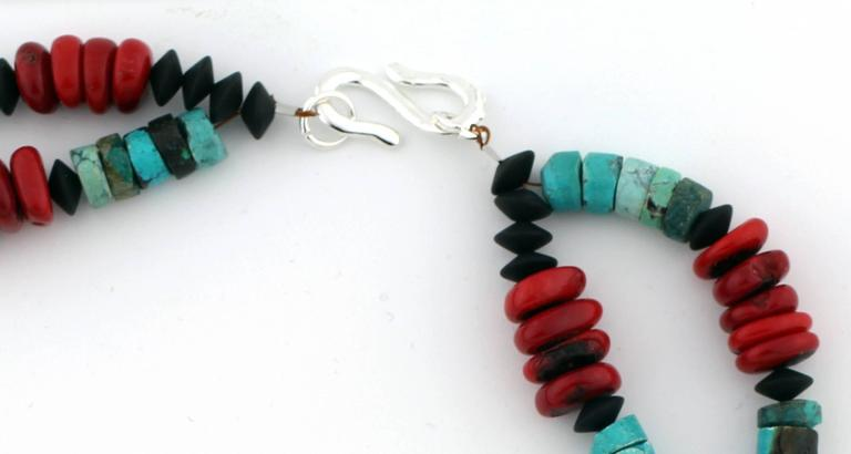 Women's Handmade Turquoise and Coral Necklace For Sale