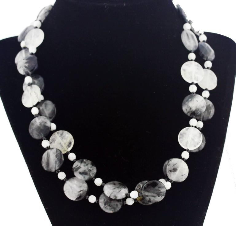 Rutilated Quartz And Moonstone Necklace At 1stdibs