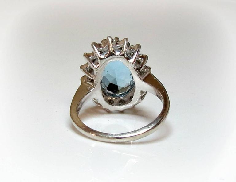 Aquamarine Diamond Halo White Gold Ring In Excellent Condition For Sale In TUXEDO PARK, NY