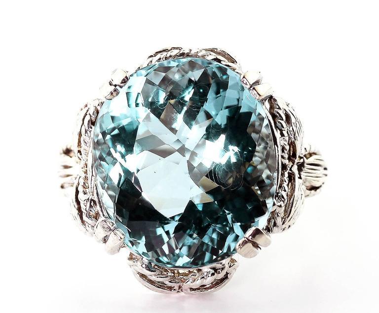 Perfect Blue Aquamarine Ring 2