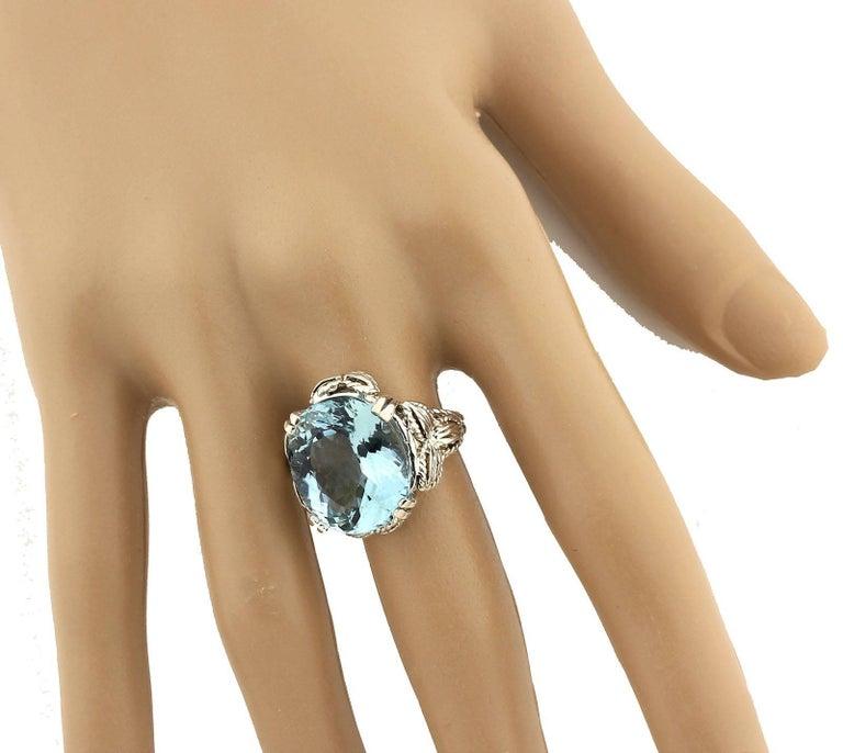Perfect Blue Aquamarine Ring 4