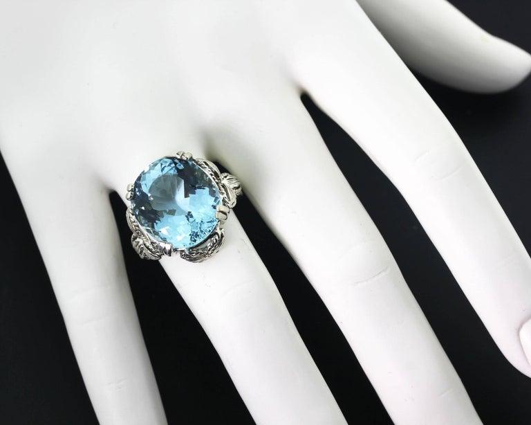 13.5 Carat Blue Aquamarine Cocktail Ring 5