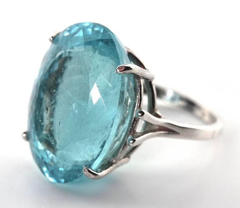 25.16 Carat Oval Blue Aquamarine Sterling Silver Ring 2