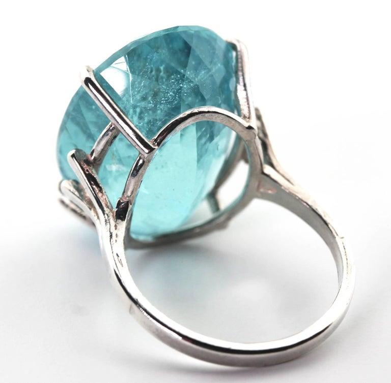 25.16 Carat Oval Blue Aquamarine Sterling Silver Ring 4