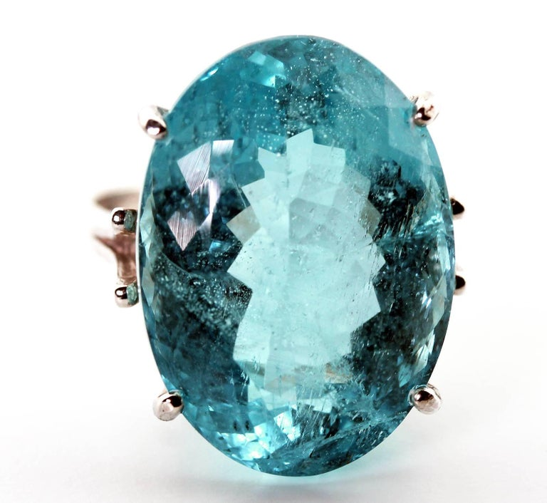 25.16 Carat Oval Blue Aquamarine Sterling Silver Ring 5