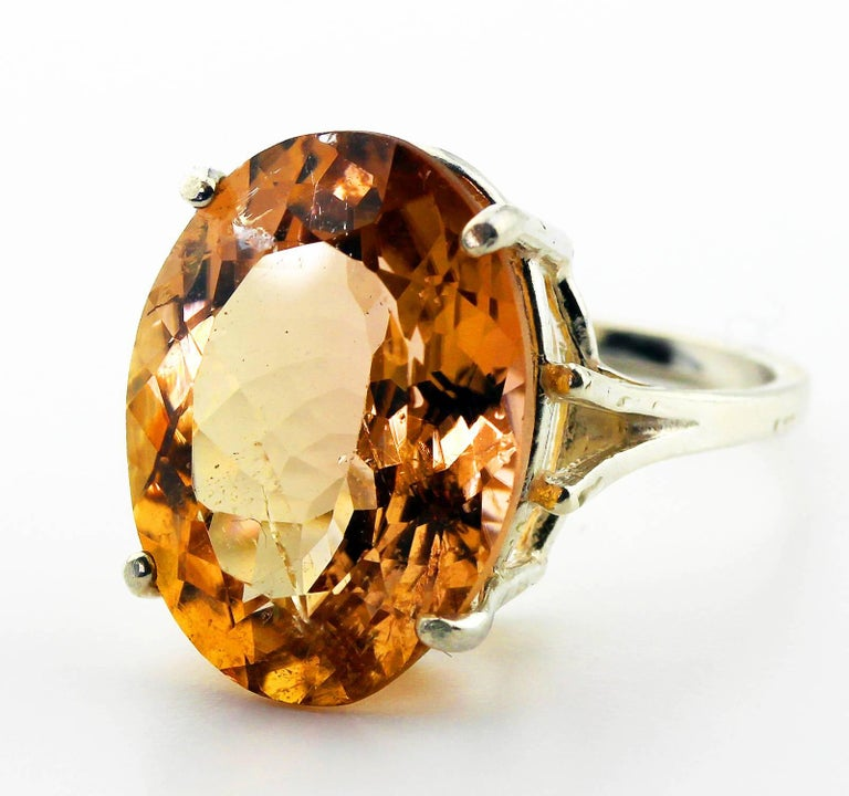 Women's 12.75 Carat Brilliant Peachy/Orange Tourmaline Sterling Silver Ring For Sale