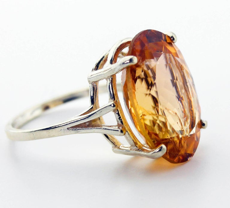 12.75 Carat Brilliant Peachy/Orange Tourmaline Sterling Silver Ring In New Condition For Sale In Tuxedo Park , NY