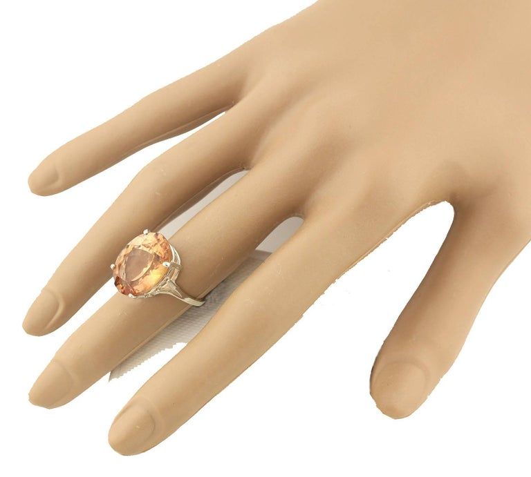 12.75 Carat Brilliant Peachy/Orange Tourmaline Sterling Silver Ring For Sale 2