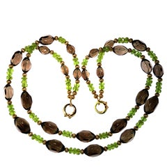 Double Strand Roundly Faceted Smoky Quartz and Rondel Peridot Necklace