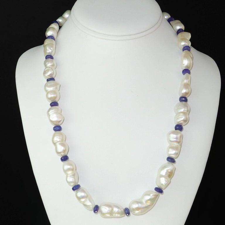 Pearl Tanzanite: Iridescent Peanut Pearl And Tanzanite Rondel Necklace For