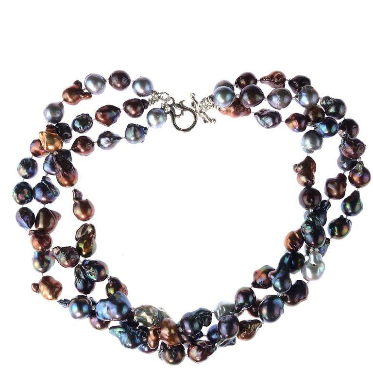 Stunning Triple Strand of Multi Color Baroque Pearls Necklace