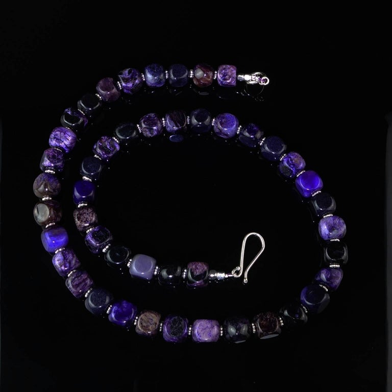 Artisan Opaque Amethyst Cubes with Silver Accents Necklace For Sale