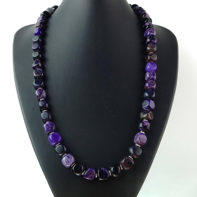 Opaque Amethyst Cubes with Silver Accents Necklace In Excellent Condition For Sale In TUXEDO PARK, NY