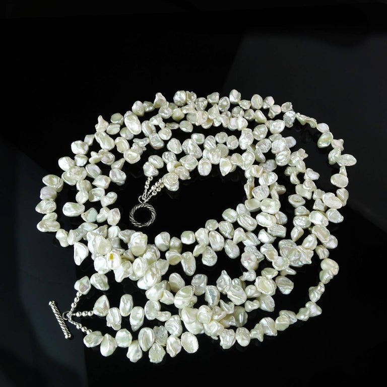 3f3bcd54be2ab Triple Strand of Iridescent White Biwa Pearl Necklace with Sterling Silver  Clasp